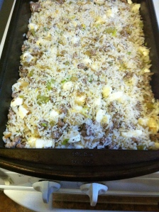 Thanksgiving stuffing ready to bake