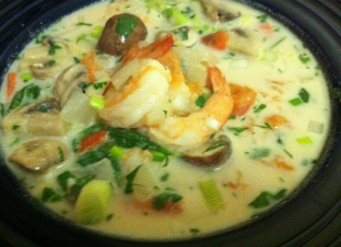 A twist on Tom Kha Gai - with shrimp instead of chicken
