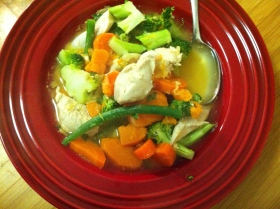 Chicken soup with ginger, broccoli and sweet potato
