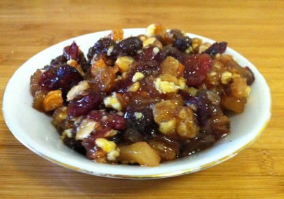 Homemade mincemeat - fruit and nuts with a healthy dose of spices, sugar, and brandy