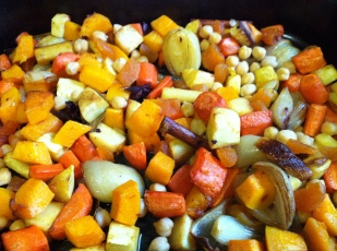 Spiced roasted vegetables and chickpeas